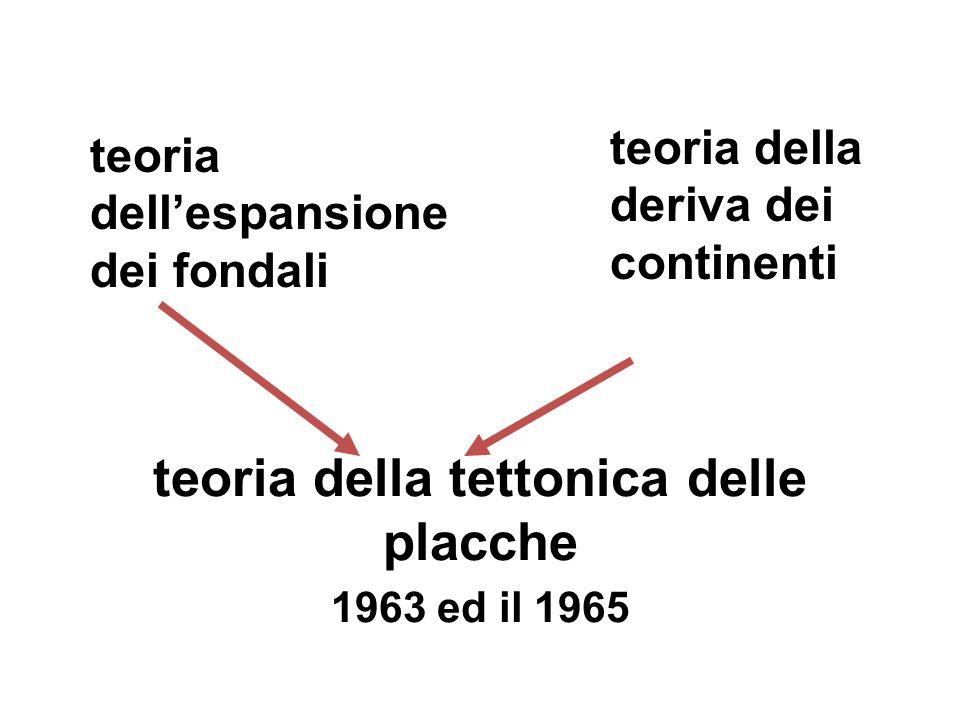 teoria della tettonica delle placche 1963 ed il 1965 teoria dell'espansione dei fondali teoria della deriva dei continenti