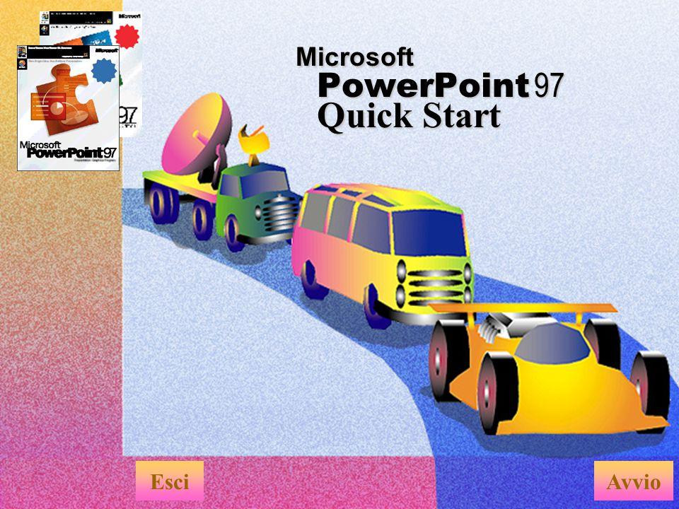 Questa presentazione Quick Start è la dimostrazione di come è possibile utilizzare PowerPoint per creare ottime presentazioni che includono: u Effetti di transizione diapositiva u Effetti di animazione u Testo animato u Effetti interattivi Creare presentazioni elettroniche EsciMenu