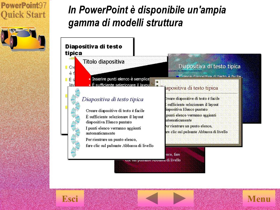 Quando si utilizza l Autocomposizione Contenuto viene proposta automaticamente una determinata struttura.