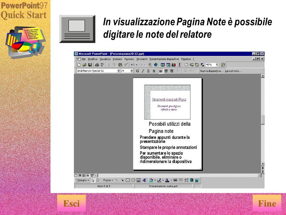 In visualizzazione Sequenza diapositive è possibile avere una visione d insieme della presentazione EsciFine