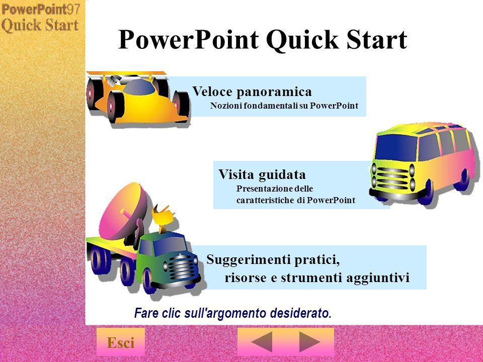 Menu Una demo sull utilizzo di PowerPoint u Quick Start è una presentazione ideata appositamente per familiarizzare rapidamente con le funzionalità di PowerPoint.