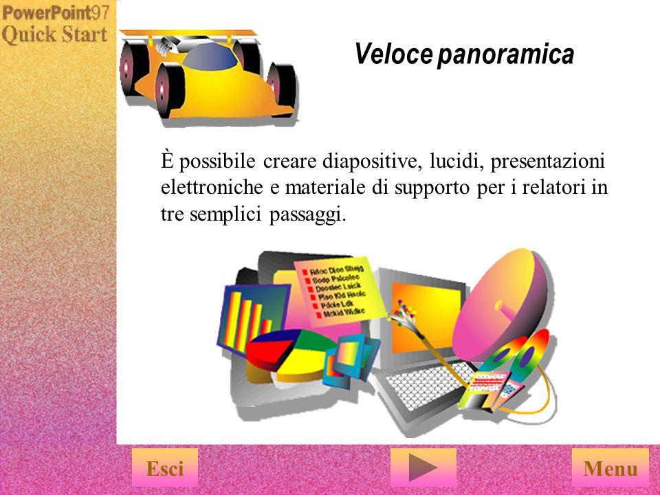 Menu Veloce panoramica È possibile creare diapositive, lucidi, presentazioni elettroniche e materiale di supporto per i relatori in tre semplici passaggi.