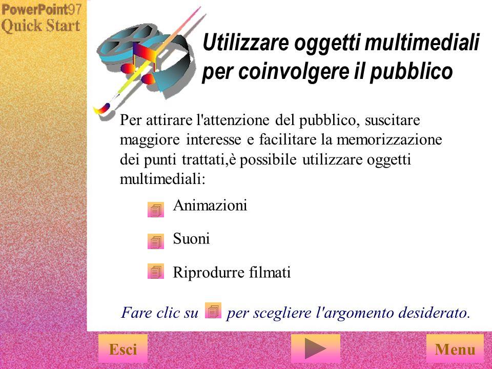 u Digitare i dati nelle caselle u Per visualizzare il grafico nella diapositiva, scegliere Aggiorna dal menu File EsciFine