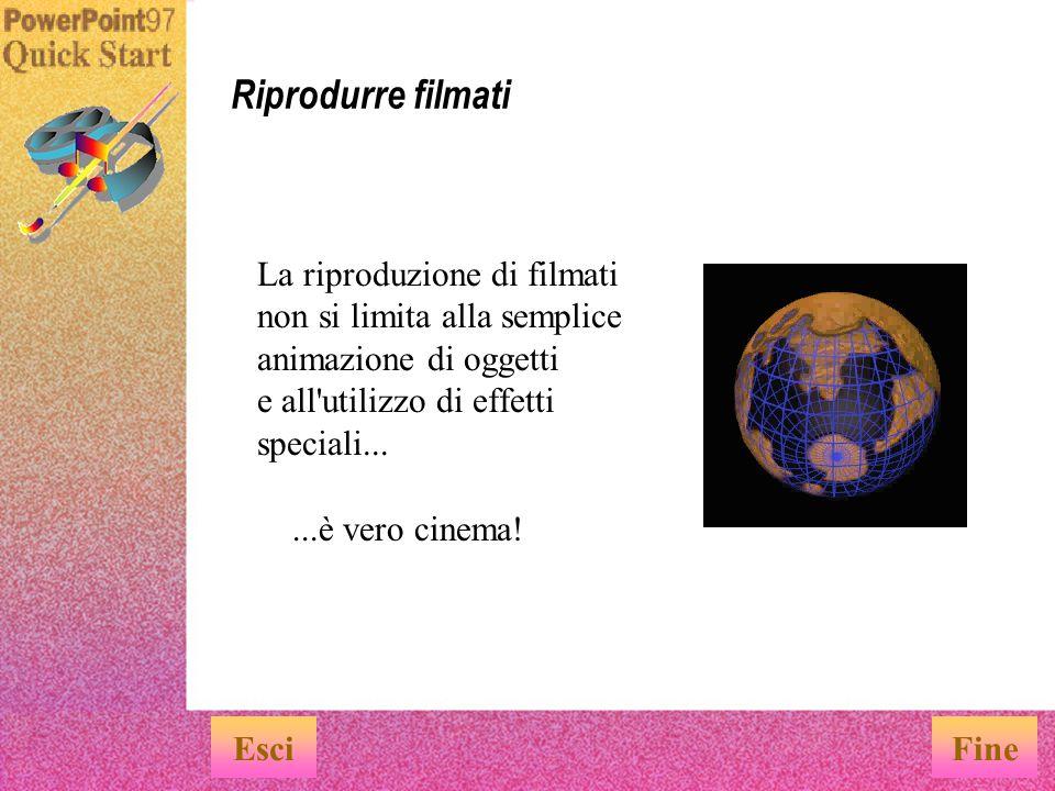 Per impostare i suoni, scegliere Filmati e suoni dal menu Inserisci.