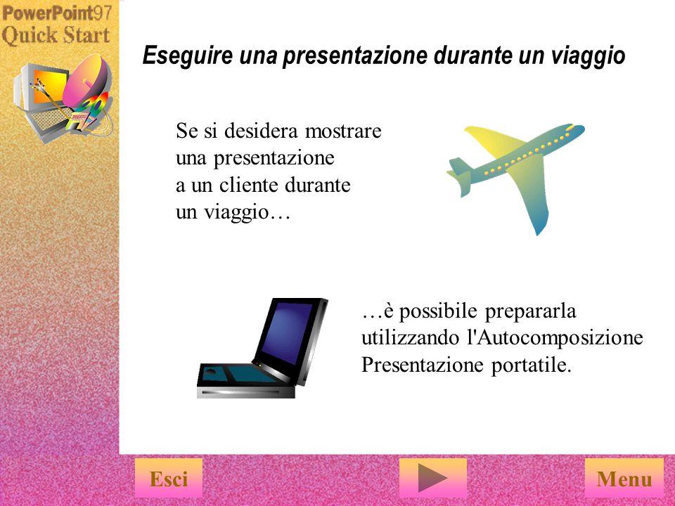Con le speciali caratteristiche di PowerPoint, creare presentazioni elettroniche è facile EsciFine Per avvalersi delle speciali caratteristiche di PowerPoint per le presentazioni, è sufficiente utilizzare i numerosi comandi disponibili nel menu Presentazione diapositive.