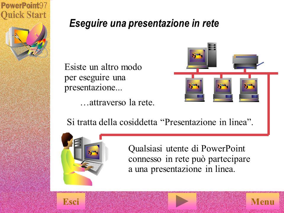 L autocomposizione consente di: u Comprimere la presentazione u Salvarla sul numero di dischi floppy necessario L Autocomposizione Presentazione portatile è facile da utilizzare EsciFine Per utilizzarla, è sufficiente scegliere Presentazione portatile dal menu File.