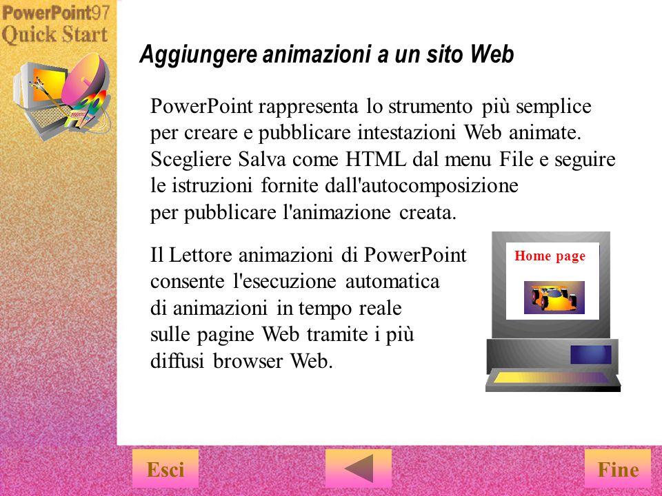 u Non è necessario conoscere il linguaggio HTML u È sufficiente scegliere Salva come HTML dal menu File u Quindi seguire le istruzioni fornite dall autocomposizione Con PowerPoint è possibile salvare una presentazione in formato HTML standard.