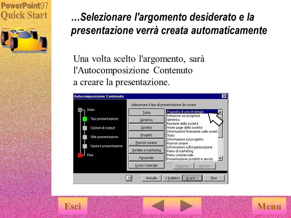 1 …quindi selezionare l Autocomposizione Contenuto nella scheda Presentazioni.