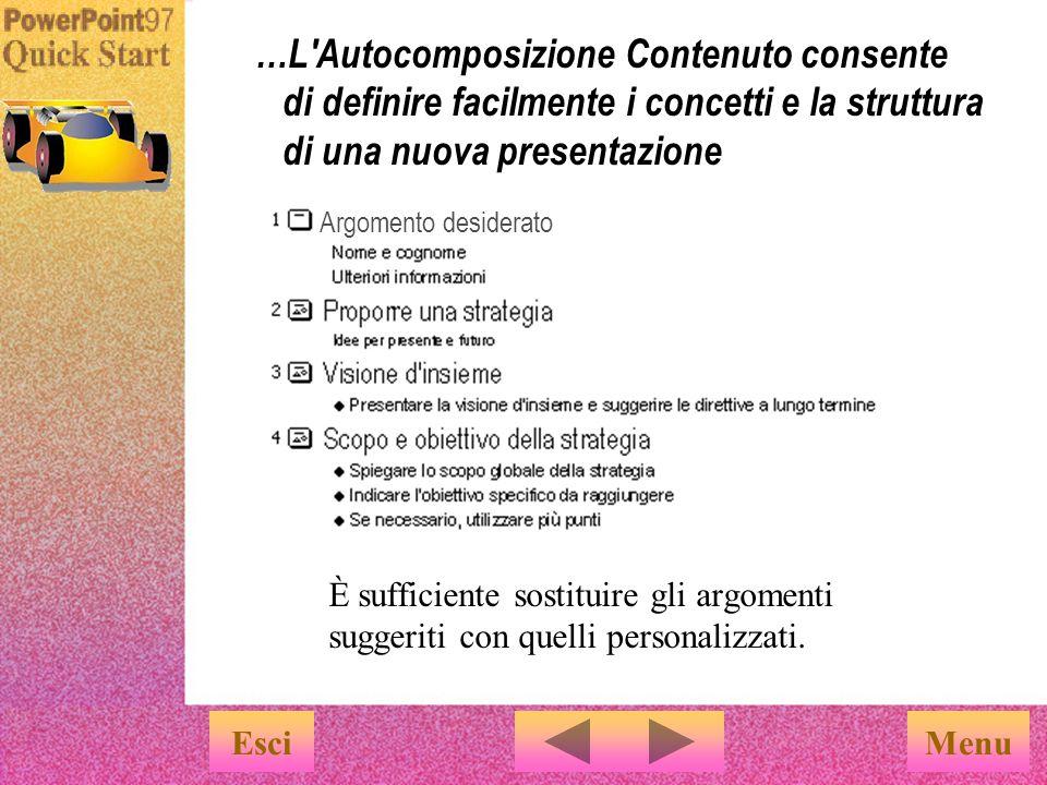 Menu …Selezionare l argomento desiderato e la presentazione verrà creata automaticamente Una volta scelto l argomento, sarà l Autocomposizione Contenuto a creare la presentazione.