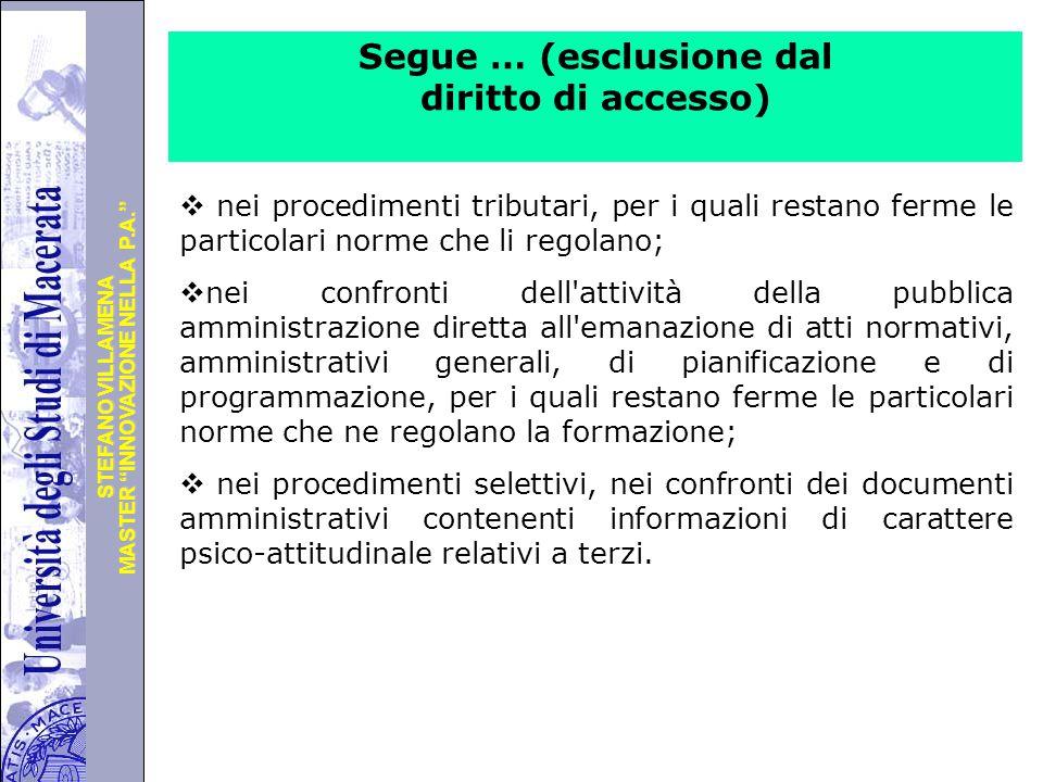 """Università degli Studi di Perugia MASTER """"INNOVAZIONE NELLA P.A."""" STEFANO VILLAMENA Segue … (esclusione dal diritto di accesso)  nei procedimenti tri"""