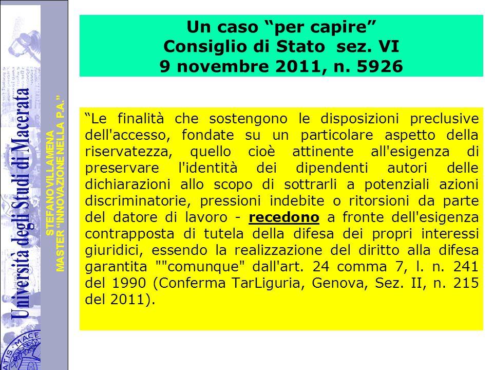 """Università degli Studi di Perugia MASTER """"INNOVAZIONE NELLA P.A."""" STEFANO VILLAMENA Un caso """"per capire"""" Consiglio di Stato sez. VI 9 novembre 2011, n"""