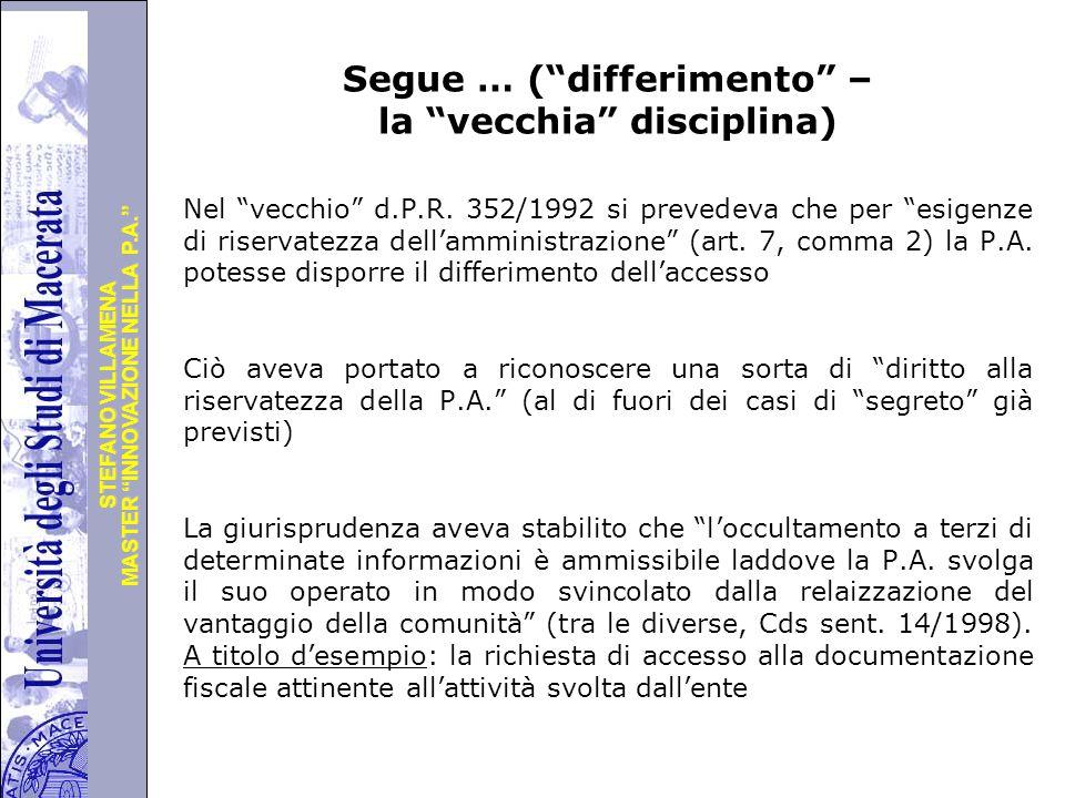 """Università degli Studi di Perugia MASTER """"INNOVAZIONE NELLA P.A."""" STEFANO VILLAMENA Segue … (""""differimento"""" – la """"vecchia"""" disciplina) Nel """"vecchio"""" d"""