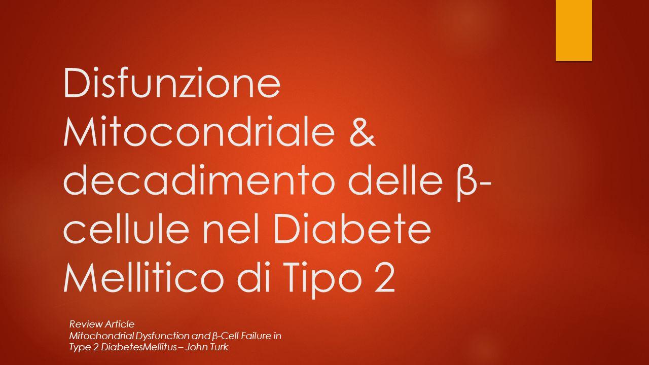 Disfunzione Mitocondriale & decadimento delle β- cellule nel Diabete Mellitico di Tipo 2 Review Article Mitochondrial Dysfunction and β-Cell Failure i
