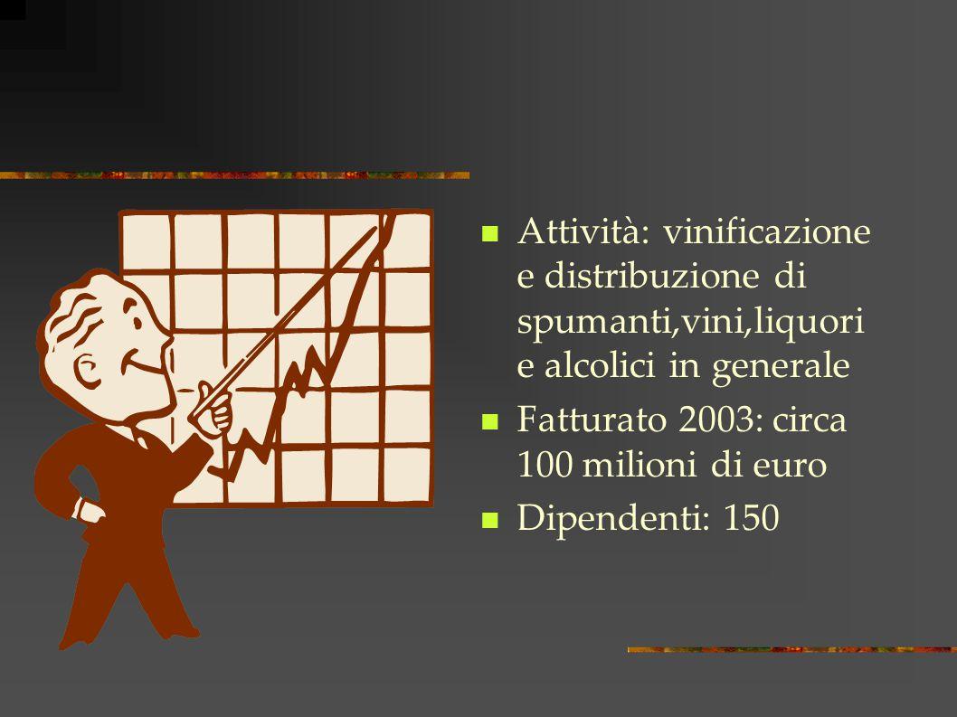 Attività: vinificazione e distribuzione di spumanti,vini,liquori e alcolici in generale Fatturato 2003: circa 100 milioni di euro Dipendenti: 150
