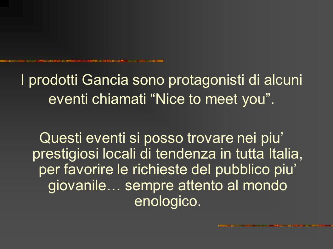 I prodotti Gancia sono protagonisti di alcuni eventi chiamati Nice to meet you .
