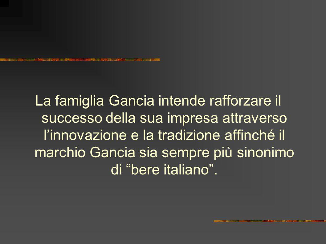 La famiglia Gancia intende rafforzare il successo della sua impresa attraverso l'innovazione e la tradizione affinché il marchio Gancia sia sempre più sinonimo di bere italiano .