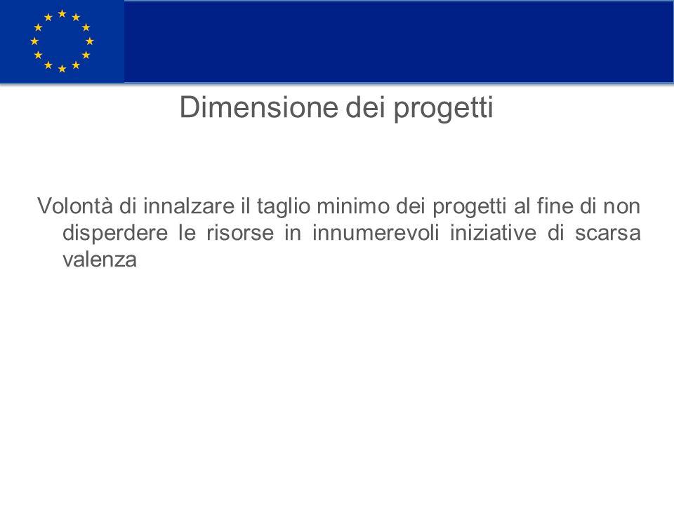 Dimensione dei progetti Volontà di innalzare il taglio minimo dei progetti al fine di non disperdere le risorse in innumerevoli iniziative di scarsa valenza