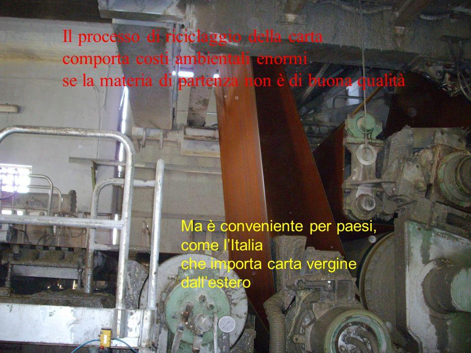 Il processo di riciclaggio della carta comporta costi ambientali enormi se la materia di partenza non è di buona qualità Ma è conveniente per paesi, come l'Italia che importa carta vergine dall'estero