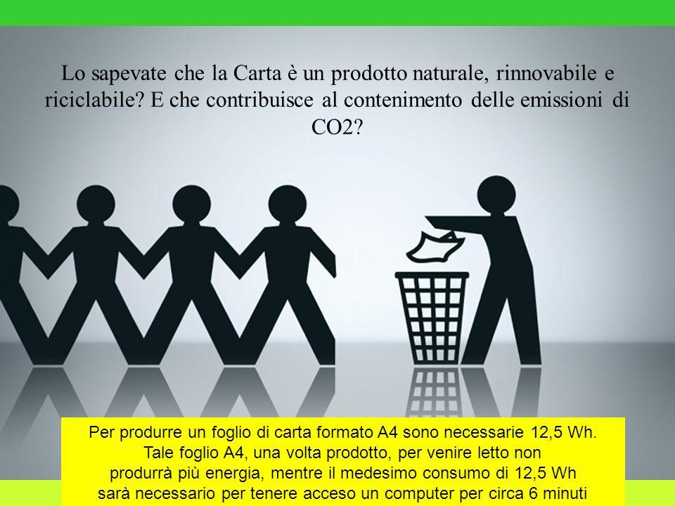 Lo sapevate che la Carta è un prodotto naturale, rinnovabile e riciclabile.