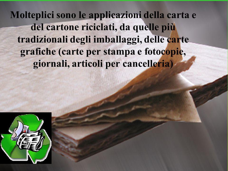 Molteplici sono le applicazioni della carta e del cartone riciclati, da quelle più tradizionali degli imballaggi, delle carte grafiche (carte per stampa e fotocopie, giornali, articoli per cancelleria)