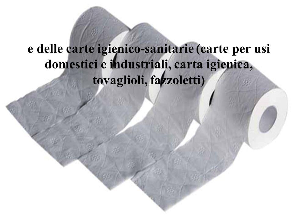 e delle carte igienico-sanitarie (carte per usi domestici e industriali, carta igienica, tovaglioli, fazzoletti)