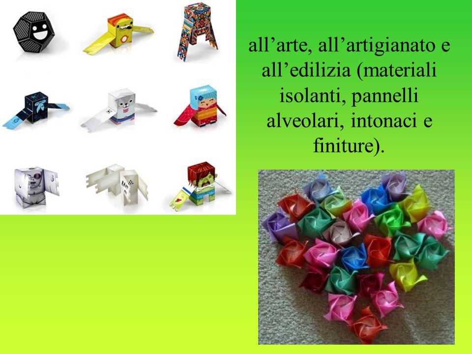 all'arte, all'artigianato e all'edilizia (materiali isolanti, pannelli alveolari, intonaci e finiture).