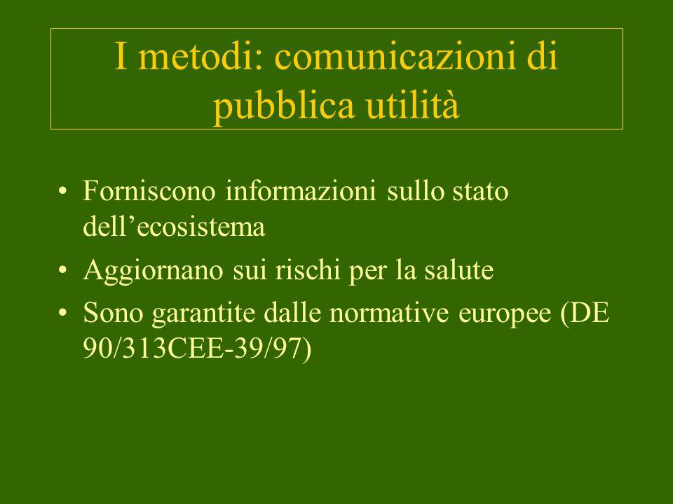 I metodi: comunicazioni di pubblica utilità Forniscono informazioni sullo stato dell'ecosistema Aggiornano sui rischi per la salute Sono garantite dalle normative europee (DE 90/313CEE-39/97)