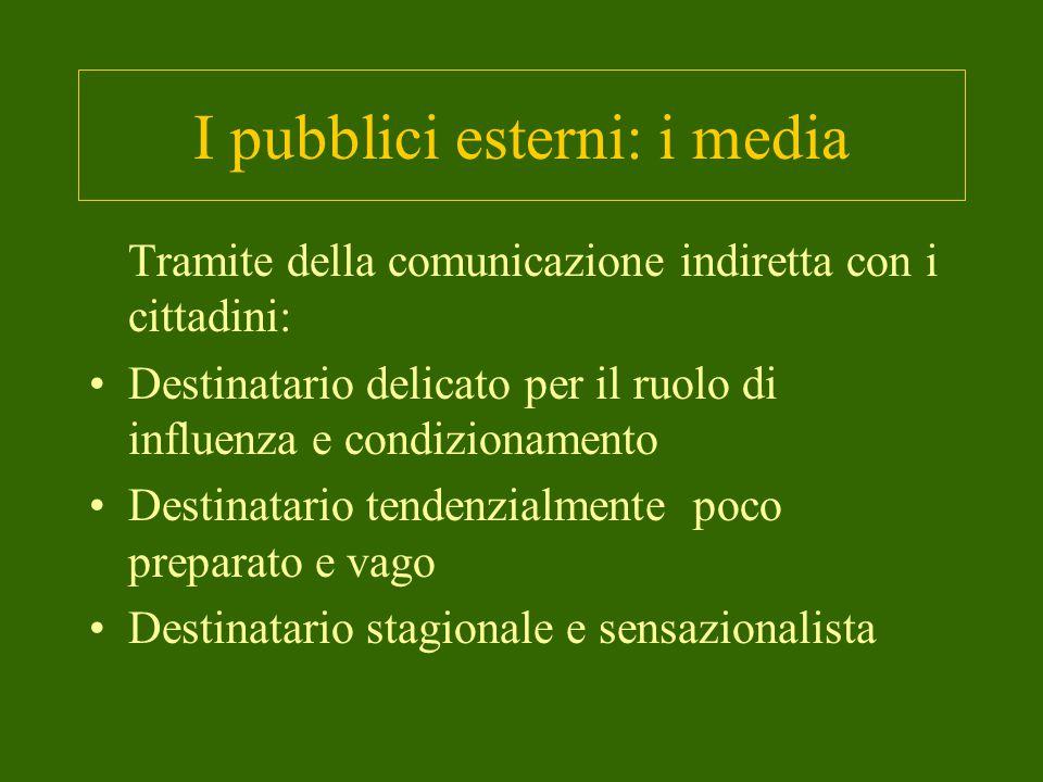 I pubblici esterni: i media Tramite della comunicazione indiretta con i cittadini: Destinatario delicato per il ruolo di influenza e condizionamento Destinatario tendenzialmente poco preparato e vago Destinatario stagionale e sensazionalista