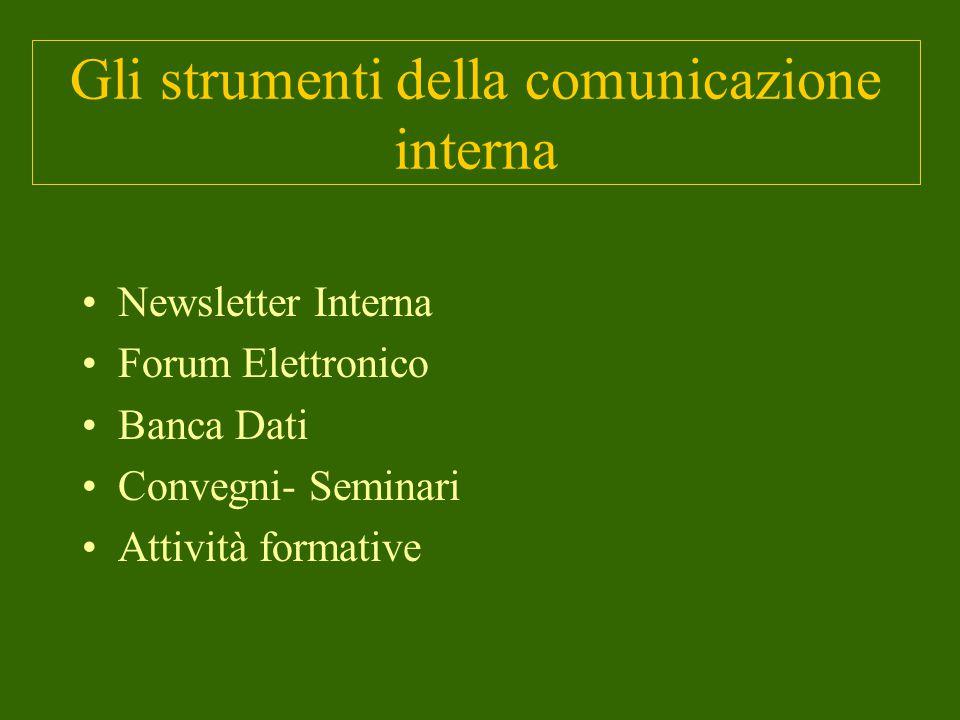 Gli strumenti della comunicazione interna Newsletter Interna Forum Elettronico Banca Dati Convegni- Seminari Attività formative