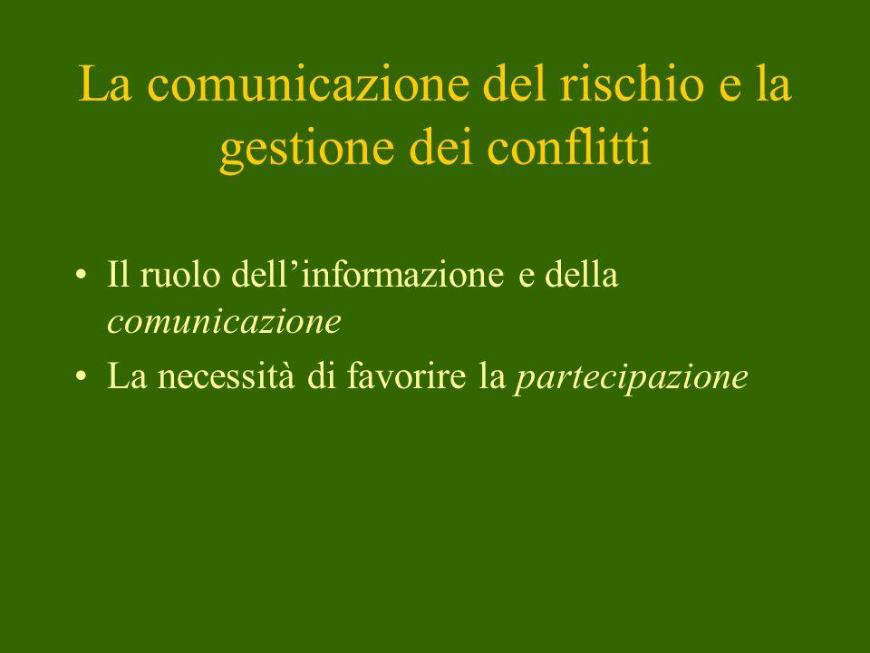 La comunicazione del rischio e la gestione dei conflitti Il ruolo dell'informazione e della comunicazione La necessità di favorire la partecipazione