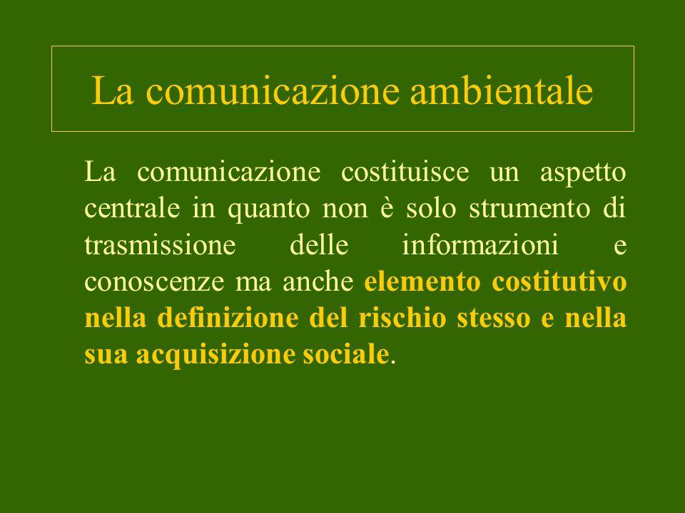 La comunicazione ambientale La comunicazione costituisce un aspetto centrale in quanto non è solo strumento di trasmissione delle informazioni e conoscenze ma anche elemento costitutivo nella definizione del rischio stesso e nella sua acquisizione sociale.
