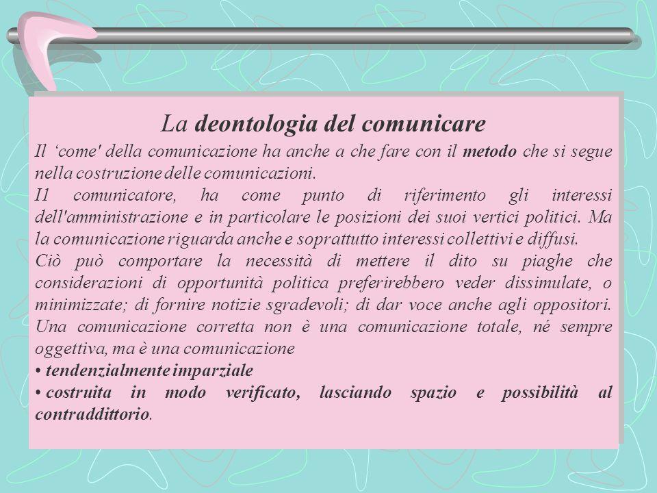 La deontologia del comunicare Il 'come della comunicazione ha anche a che fare con il metodo che si segue nella costruzione delle comunicazioni.
