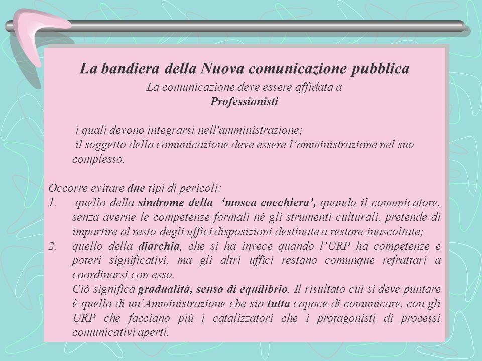 La bandiera della Nuova comunicazione pubblica La comunicazione deve essere affidata a Professionisti i quali devono integrarsi nell amministrazione; il soggetto della comunicazione deve essere l'amministrazione nel suo complesso.