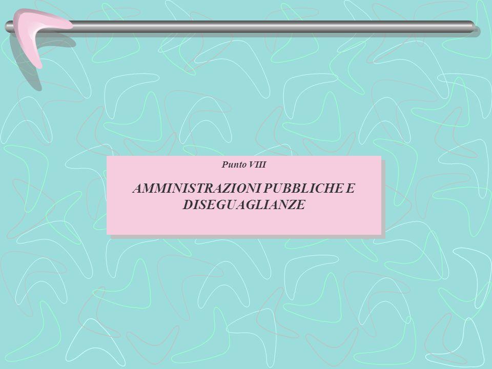 Punto VIII AMMINISTRAZIONI PUBBLICHE E DISEGUAGLIANZE Punto VIII AMMINISTRAZIONI PUBBLICHE E DISEGUAGLIANZE