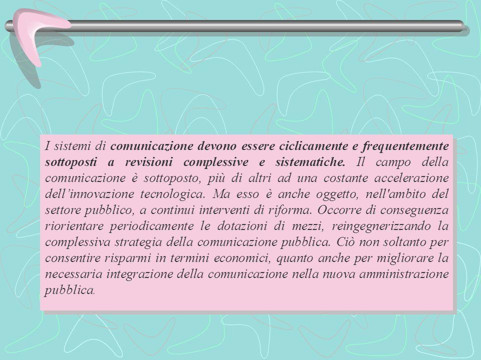 I sistemi di comunicazione devono essere ciclicamente e frequentemente sottoposti a revisioni complessive e sistematiche.