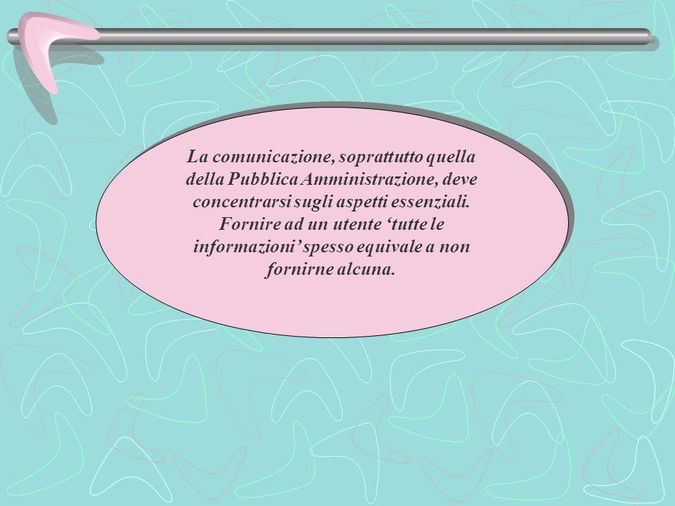 La comunicazione, soprattutto quella della Pubblica Amministrazione, deve concentrarsi sugli aspetti essenziali.