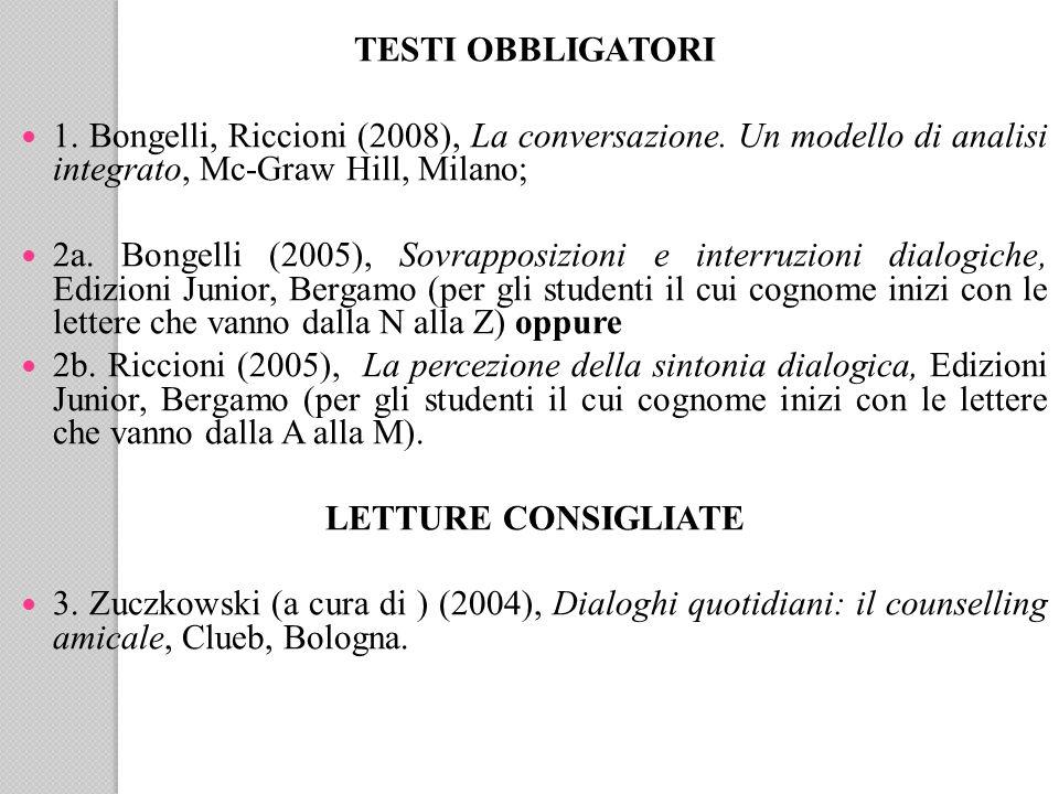 TESTI OBBLIGATORI 1.Bongelli, Riccioni (2008), La conversazione.
