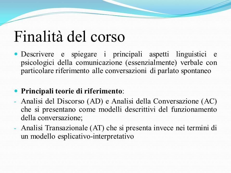 TESTI OBBLIGATORI 1. Bongelli, Riccioni (2008), La conversazione.