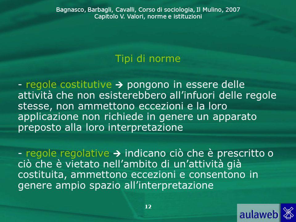 Bagnasco, Barbagli, Cavalli, Corso di sociologia, Il Mulino, 2007 Capitolo V. Valori, norme e istituzioni 12 Tipi di norme - regole costitutive  pong