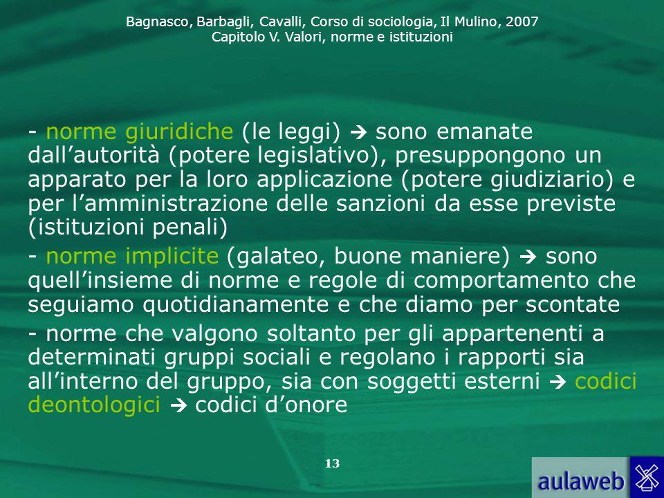 Bagnasco, Barbagli, Cavalli, Corso di sociologia, Il Mulino, 2007 Capitolo V. Valori, norme e istituzioni 13 - norme giuridiche (le leggi)  sono eman