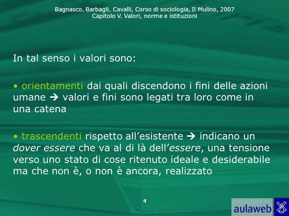 Bagnasco, Barbagli, Cavalli, Corso di sociologia, Il Mulino, 2007 Capitolo V. Valori, norme e istituzioni 4 In tal senso i valori sono: orientamenti d
