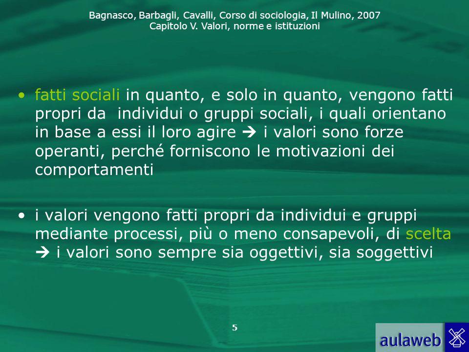 Bagnasco, Barbagli, Cavalli, Corso di sociologia, Il Mulino, 2007 Capitolo V. Valori, norme e istituzioni 5 fatti sociali in quanto, e solo in quanto,