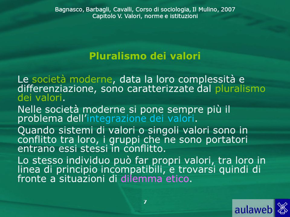 Bagnasco, Barbagli, Cavalli, Corso di sociologia, Il Mulino, 2007 Capitolo V. Valori, norme e istituzioni 7 Pluralismo dei valori Le società moderne,