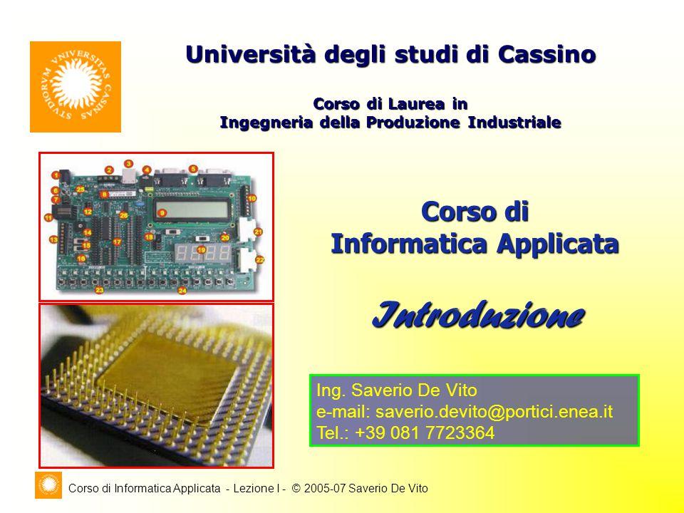 Corso di Informatica Applicata - Lezione I - © 2005-07 Saverio De Vito Architettura dell'unità di elaborazione; Modello di programmazione del processore; Modalità di indirizzamento della memoria; Modalità di I/O; Classi di Istruzioni; Programmazione MCUs in linguaggio Assembly.