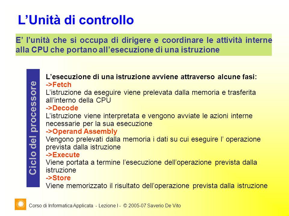 Corso di Informatica Applicata - Lezione I - © 2005-07 Saverio De Vito L'Unità di controllo E' l'unità che si occupa di dirigere e coordinare le attiv