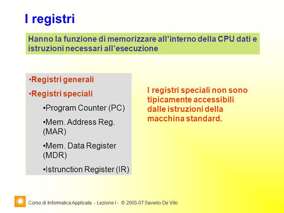 Corso di Informatica Applicata - Lezione I - © 2005-07 Saverio De Vito I registri Hanno la funzione di memorizzare all'interno della CPU dati e istruzioni necessari all'esecuzione Registri generali Registri speciali Program Counter (PC) Mem.