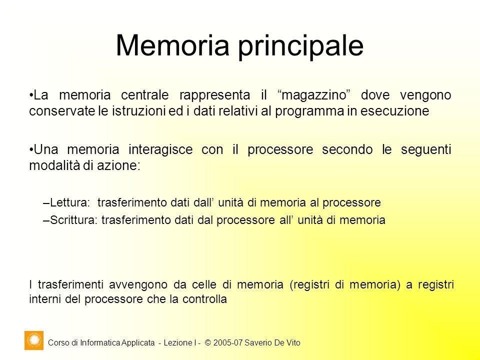 """Corso di Informatica Applicata - Lezione I - © 2005-07 Saverio De Vito Memoria principale La memoria centrale rappresenta il """"magazzino"""" dove vengono"""
