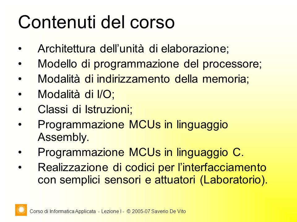 Corso di Informatica Applicata - Lezione I - © 2005-07 Saverio De Vito Architettura dell'unità di elaborazione; Modello di programmazione del processo