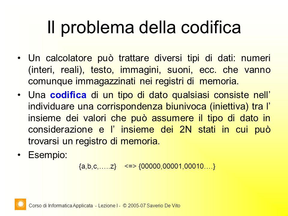 Corso di Informatica Applicata - Lezione I - © 2005-07 Saverio De Vito Il problema della codifica Un calcolatore può trattare diversi tipi di dati: nu