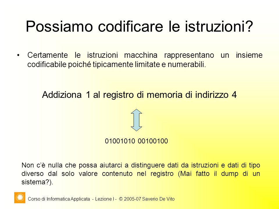 Corso di Informatica Applicata - Lezione I - © 2005-07 Saverio De Vito Possiamo codificare le istruzioni? Certamente le istruzioni macchina rappresent